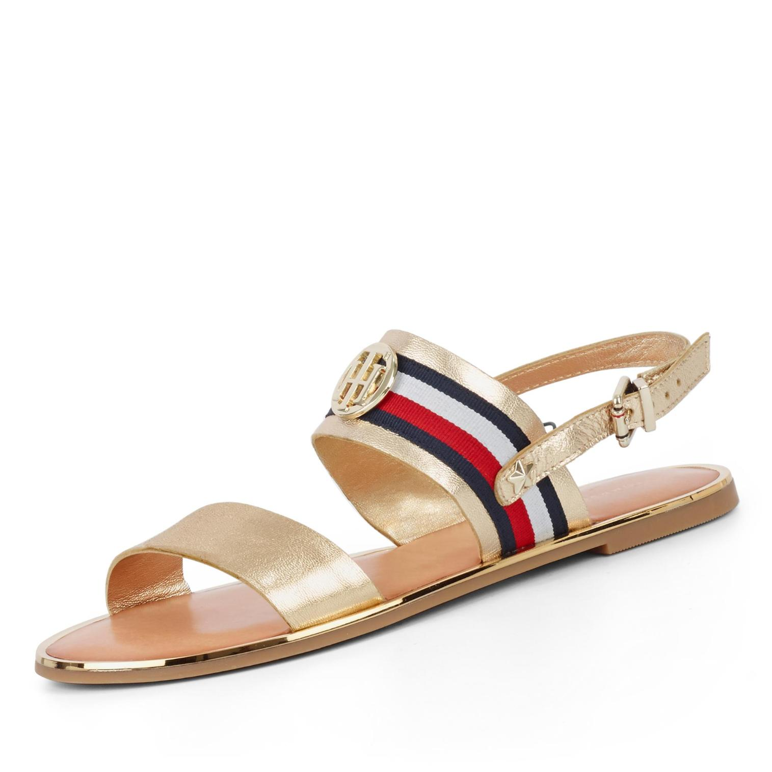 Tommy Hilfiger Corporate Ribbon Flat Sandale In Farbe Gold Kaufen Um